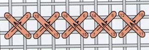 Рис. 40. Схема прокладання хрестиків у горизонтальному напрямку